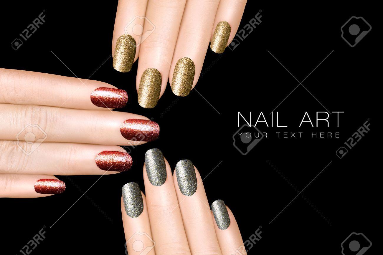 Holiday Nail Art. Esmalte De Uñas Brillo De Moda En Plata, Oro Y ...