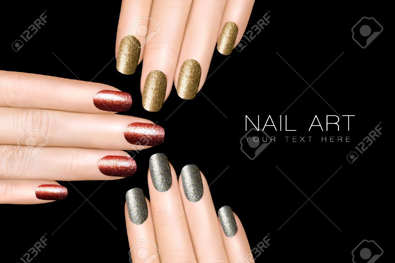 Holiday Nail Art Trendy Glitter Nail Polish In Silver Gold Stock