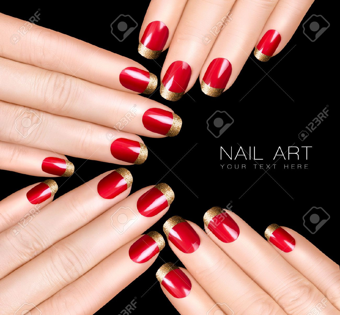 Holiday Nail Art. Luxury Nail Polish With Golden Glitter French ...