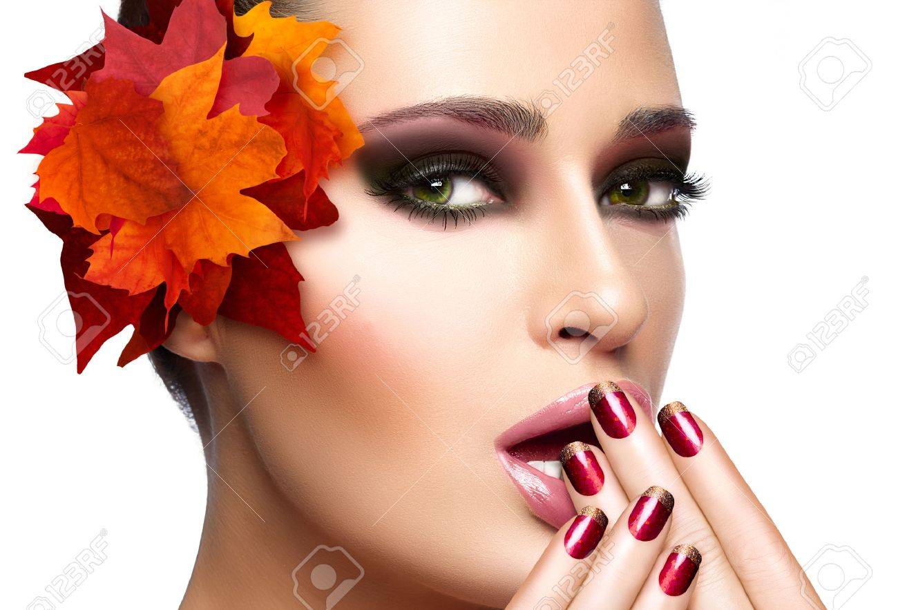 Trendy Autumnal Makeup And Nail Art. Fashion Beauty Model Girl ...
