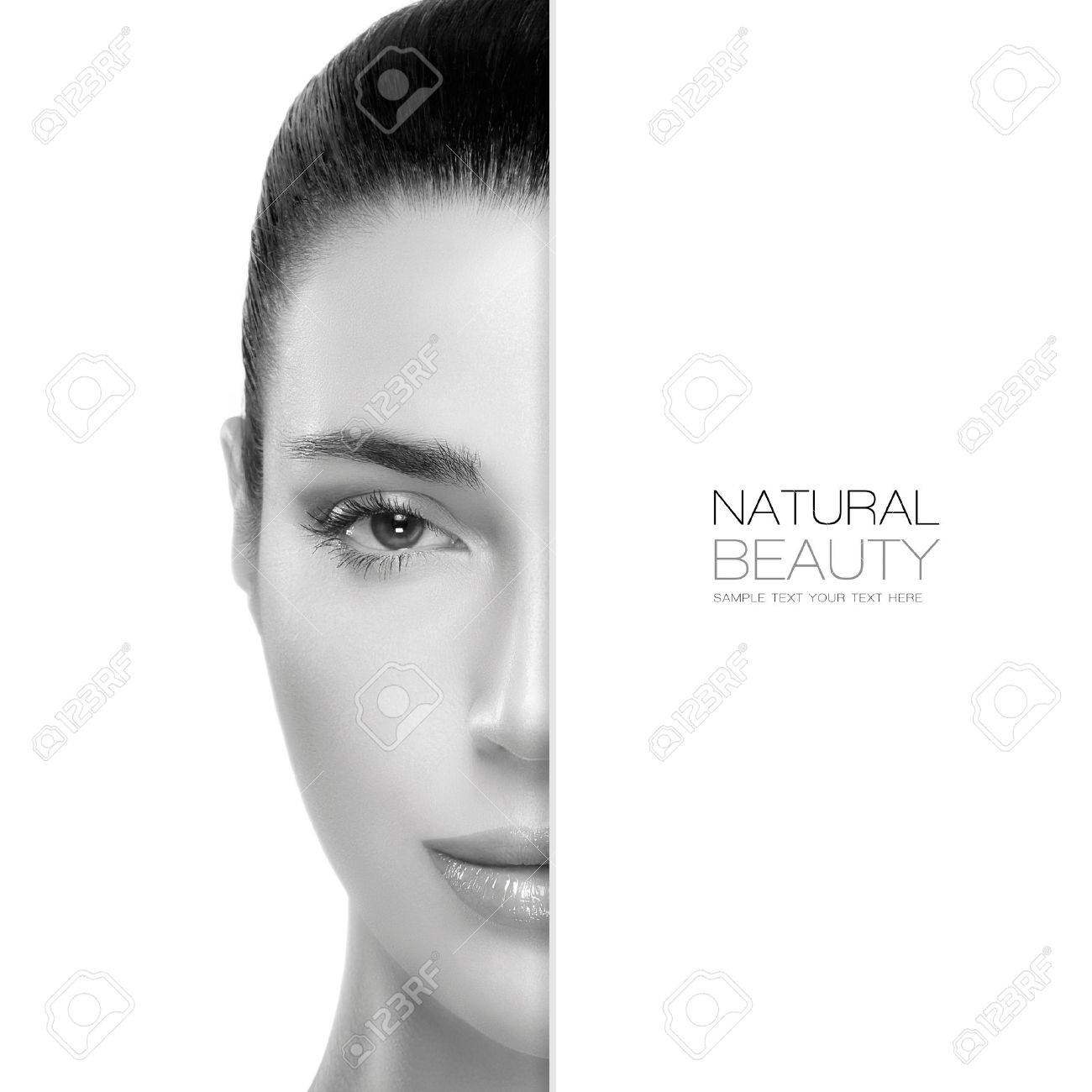 Spa Beauty concept with a half face portrait of a gorgeous woman with healthy clean skin and blank copyspace alongside with sample text. Template design - 40438004
