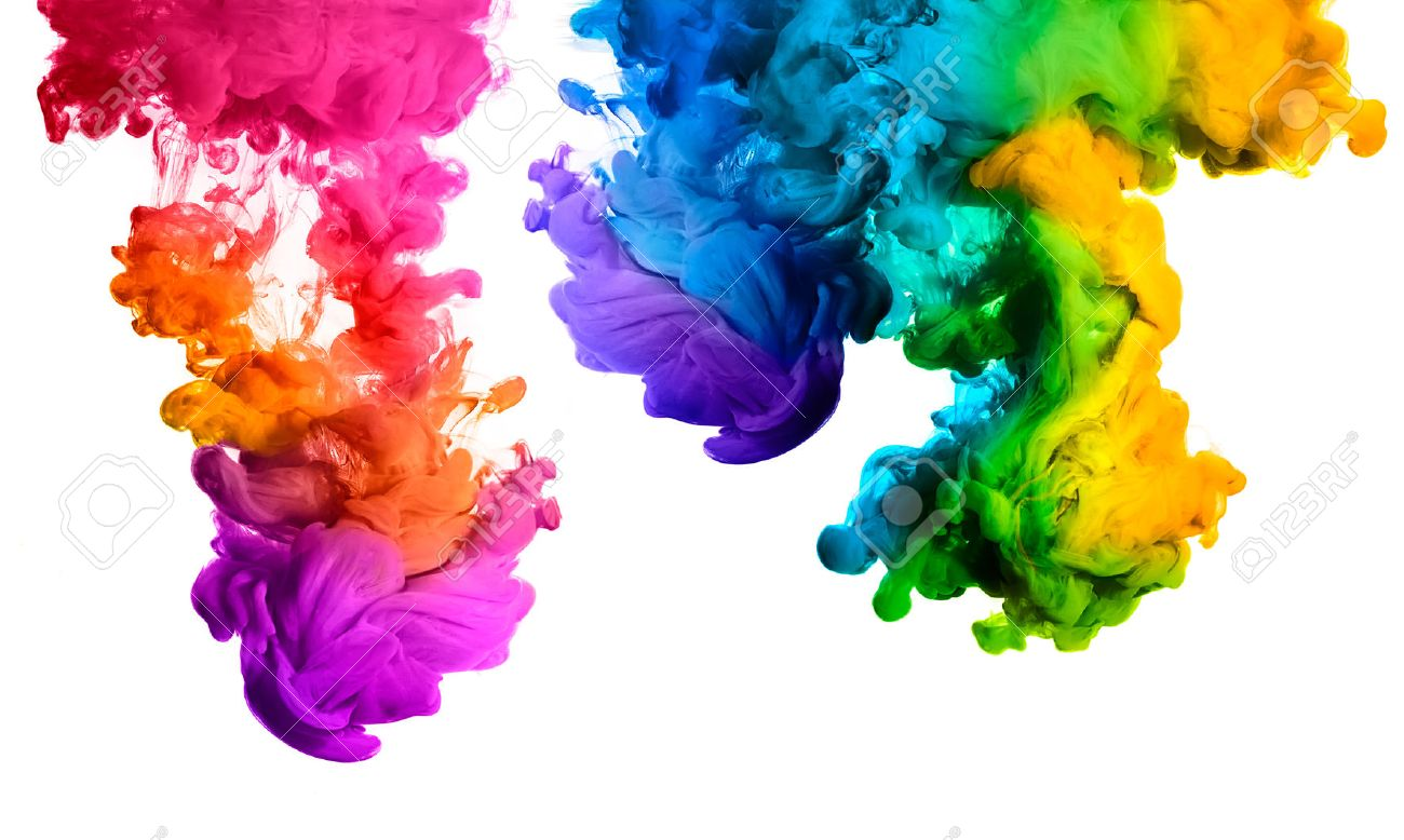 Free illustration watercolor pigment color free image - Pigment Ink In Water Isolated On White Background Rainbow Of Colors