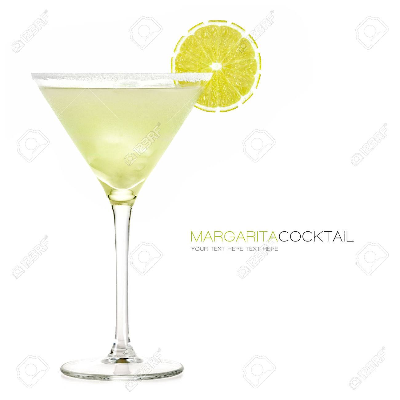 Margarita cocktail isolated on white background. Design template with sample text - 41699824