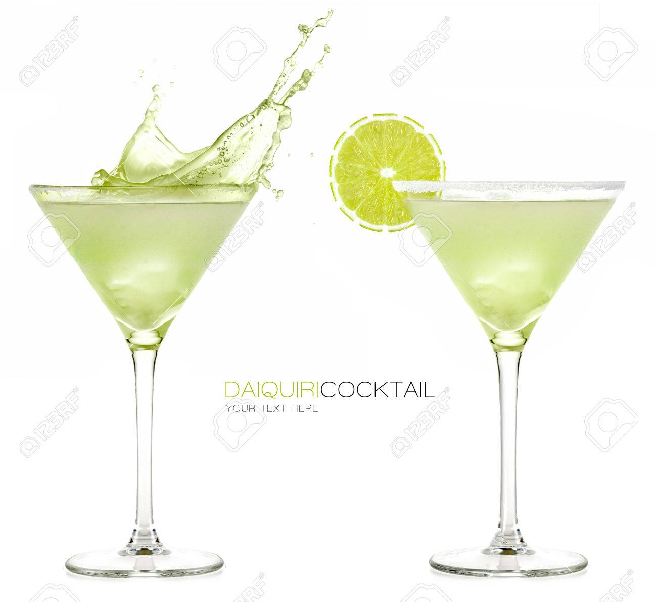 Daiquiri frozen cocktail with big splash isolated on white background. Design template with sample text - 41699826