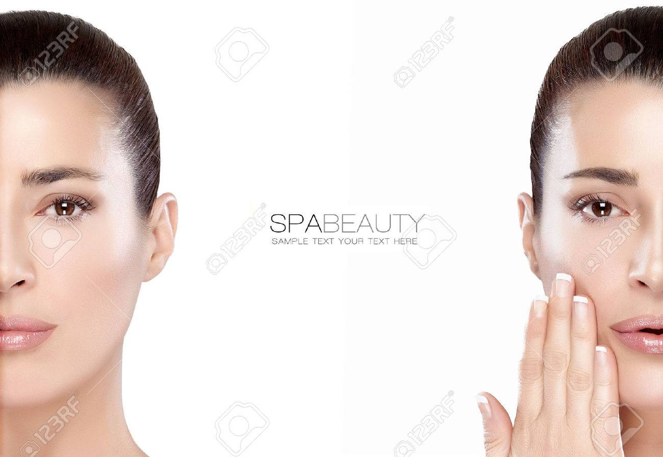Beauty and skincare concept with two half face portraits of a serene young woman with a flawless smooth complexion, isolated on white with copy space in the middle and sample text. Template design - 43375450
