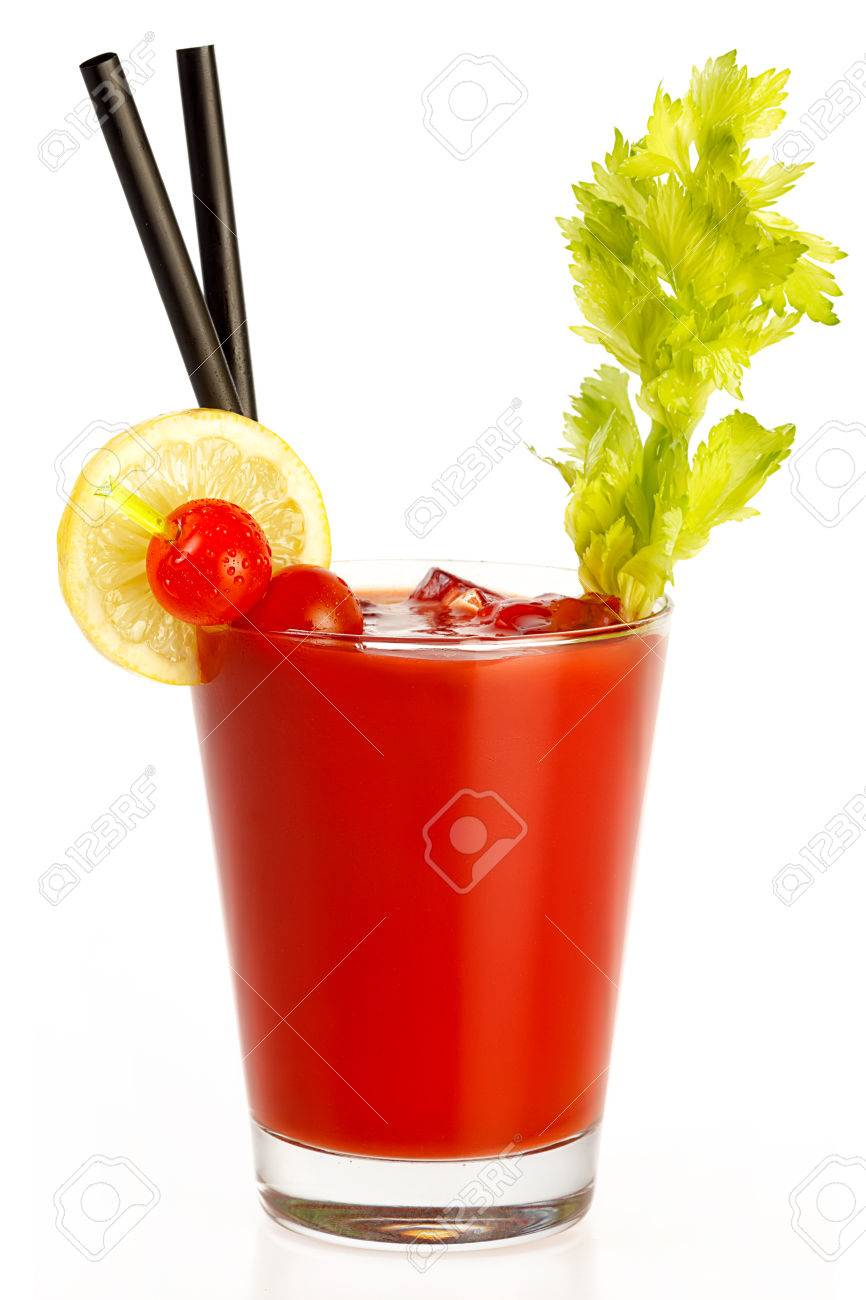 Delicious fresh tomato juice made with freshly squeezed tomato, lemon and parsley served in a glass with a celery stick, isolated on white. Healthy diet concept - 43965114