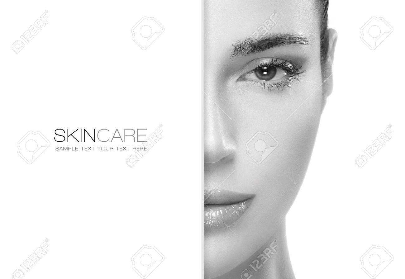 Beauty and skincare concept with a half face portrait of a gorgeous woman with healthy clean skin and blank copyspace alongside with sample text. Template design - 43375468