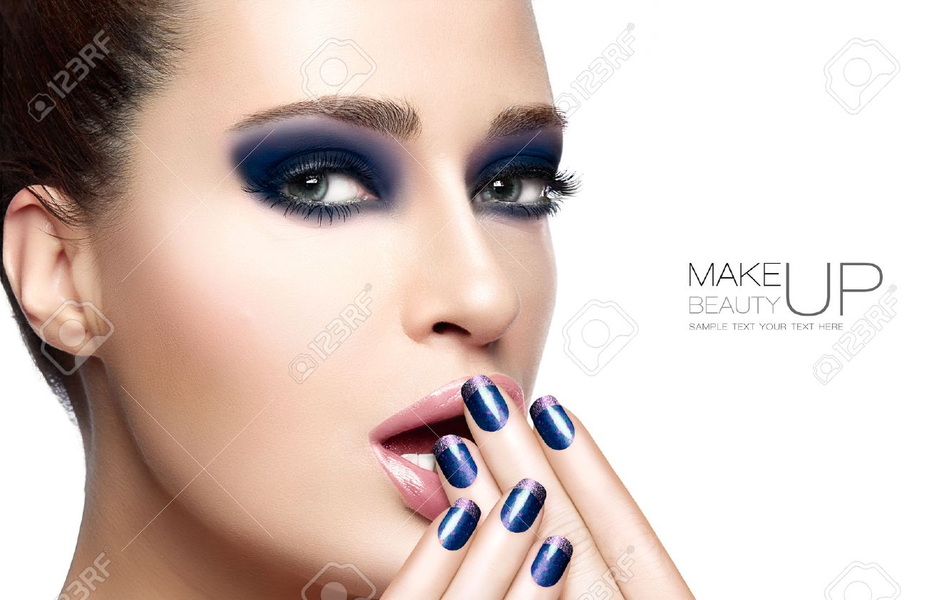 Beauty and Makeup concept with Beautiful young woman with hands on her face covering mouth. Perfect skin. Trendy nail art and makeup. Close up Portrait isolated on white with sample text Stock Photo - 44701709