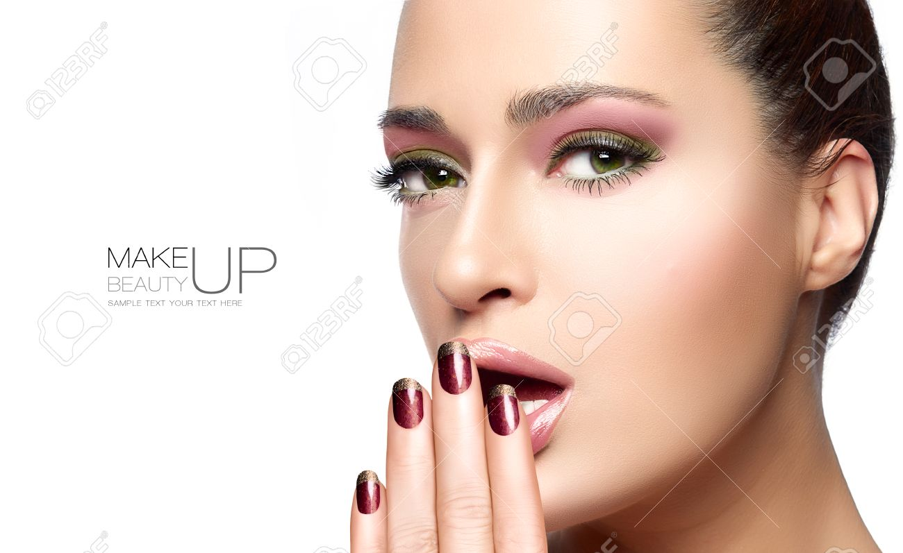 Beauty concept with a half face portrait of a gorgeous woman with healthy clean skin and blank copyspace alongside with sample text. Template design - 44701714