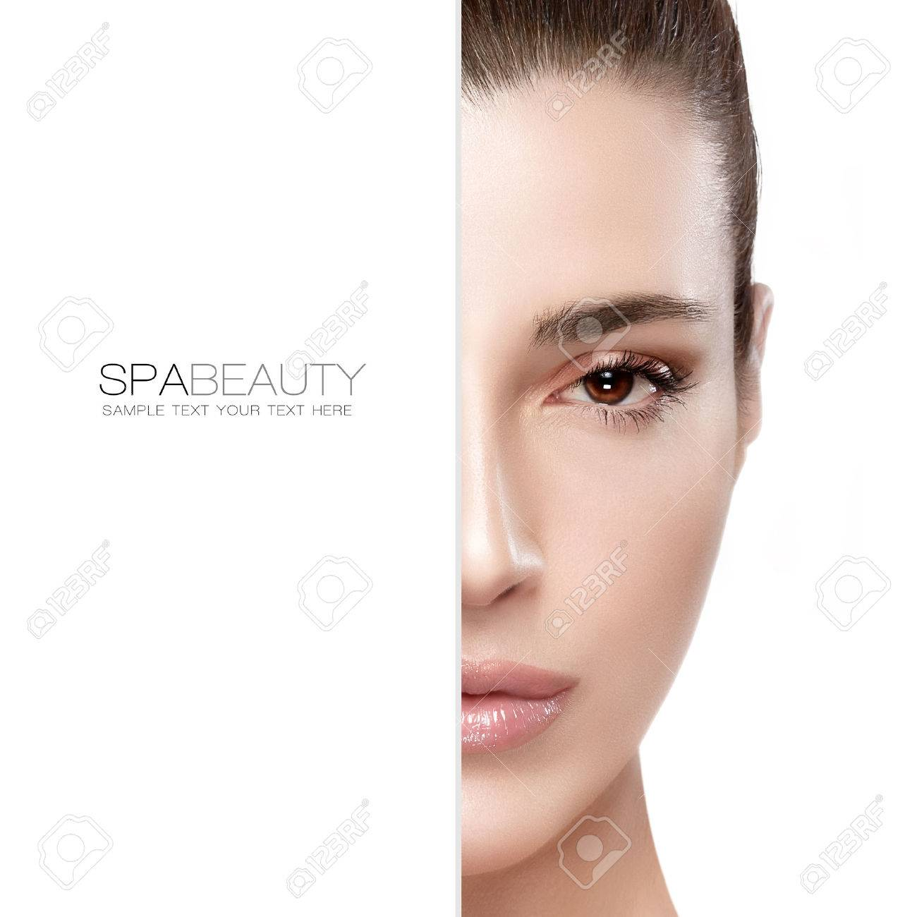 Beauty and skincare concept with a half face portrait of a serene young woman with a flawless smooth complexion, isolated on white with copy space at the left. Template design with sample text - 45172383