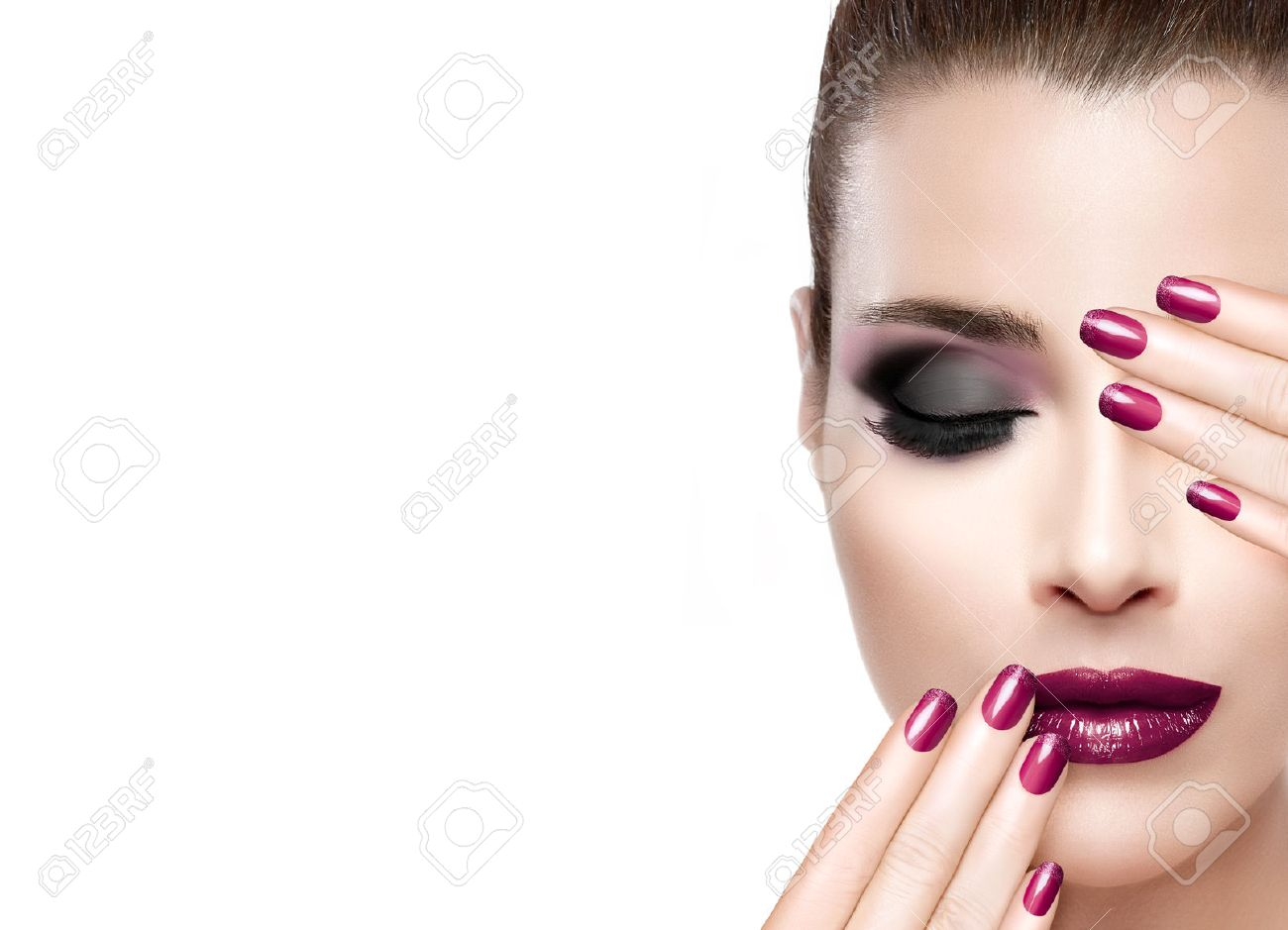 Beautiful Fashion Model Woman With Hands On Face Covering Half Mouth