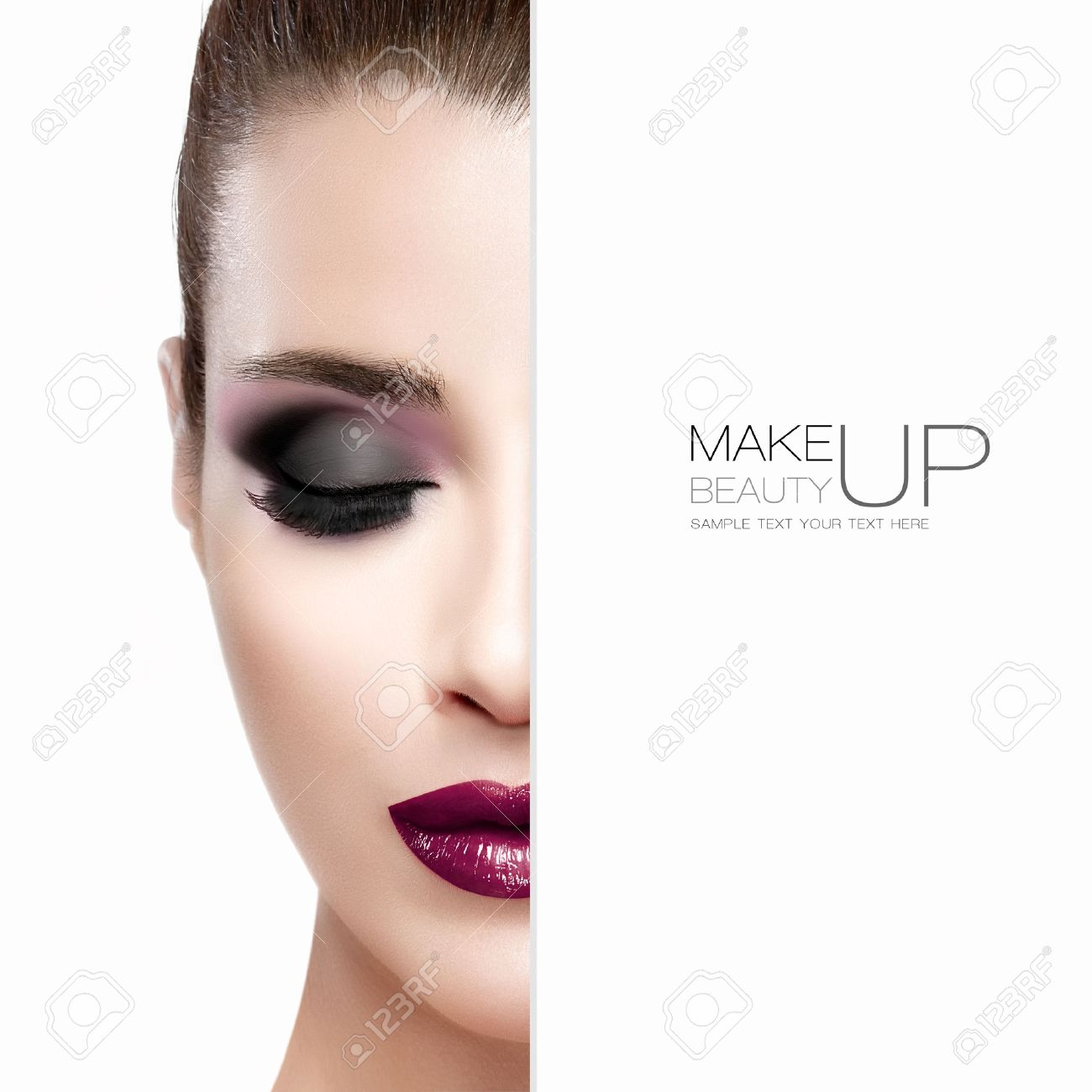 Beauty and Makeup concept with half face of a beautiful young woman with eyes closed. Perfect skin. Trendy burgundy lips and smoky eyes. Fashionable eyelashes. High fashion portrait isolated on white with sample text - 45414632