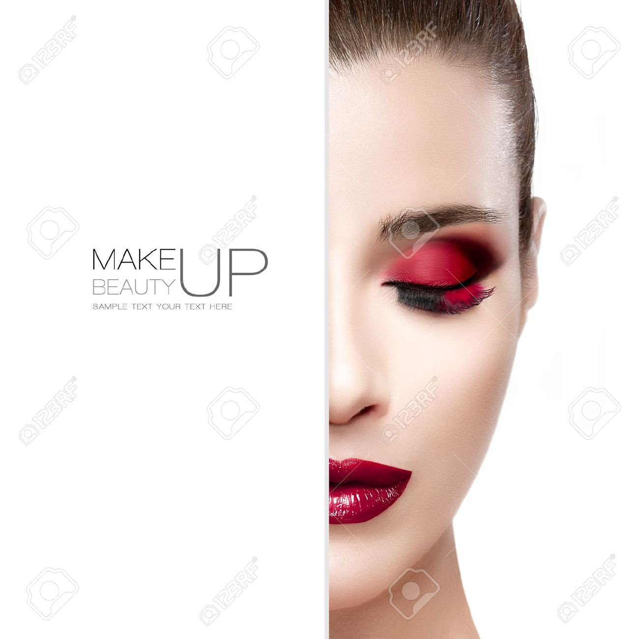 Beauty and Makeup concept with half face of a beautiful young woman with eyes closed. Perfect skin. Trendy burgundy lips and smoky eyes. Fashionable eyelashes. High fashion portrait isolated on white with sample text - 45414634