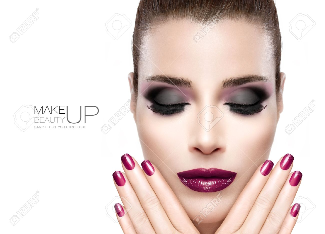 Nail Art And Makeup Concept. Beautiful Fashion Model Woman Face ...