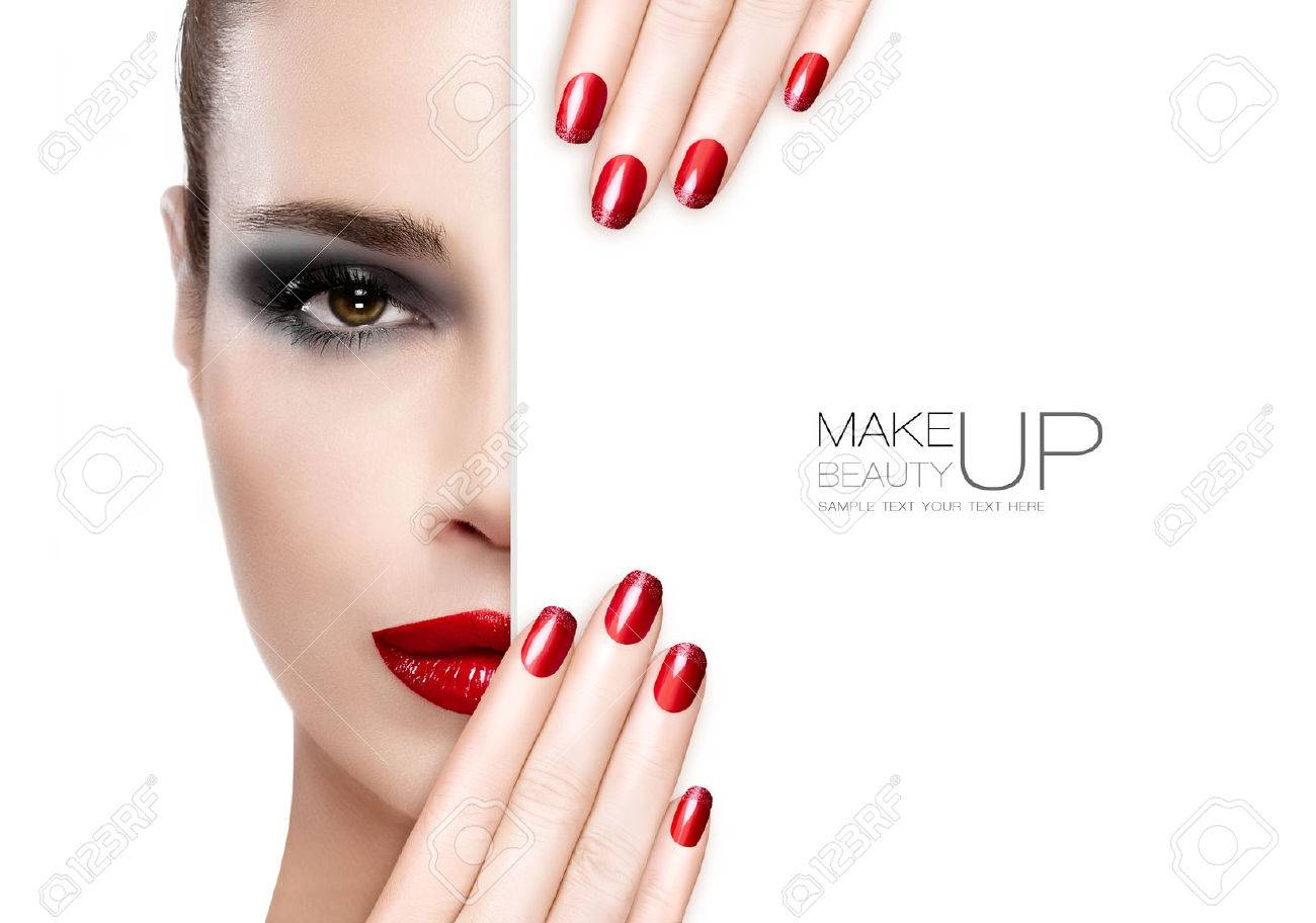 Beauty Makeup and Nai Art Concept. Beautiful fashion model woman with smoky eye makeup, foundation on a unblemished skin and trendy red lipstick to match her manicured nails, half face with a white card template. High fashion portrait isolated on white - 46003249