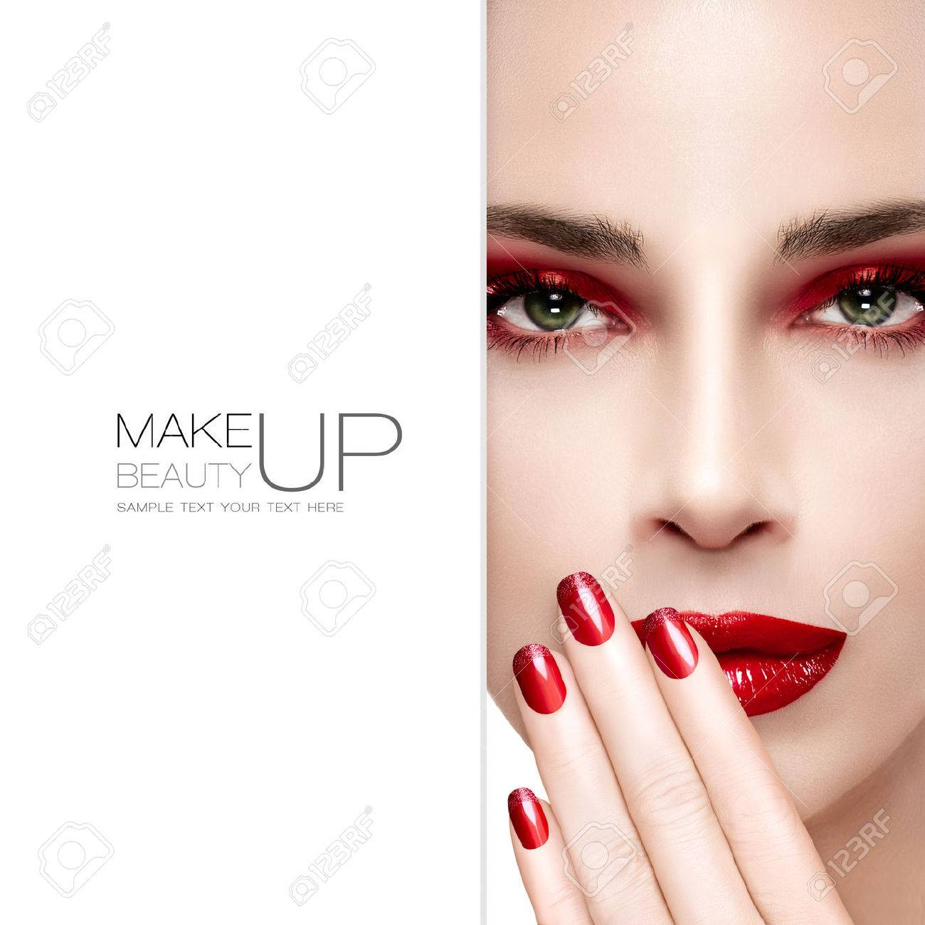 Beauty and Makeup concept. Beautiful fashion model woman with bright make-up. Trendy red lips and smoky eyes. Long eyelashes. High fashion portrait. Blank copyspace alongside and sample text. Template design - 46003250