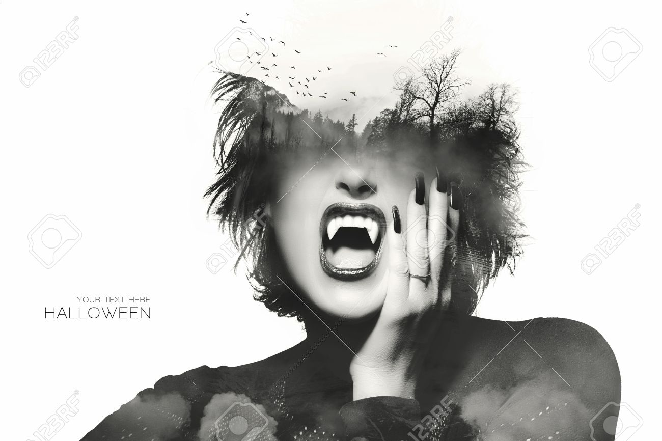 Halloween Concept With A Gothic Girl With Dark Clothes And Nails ...