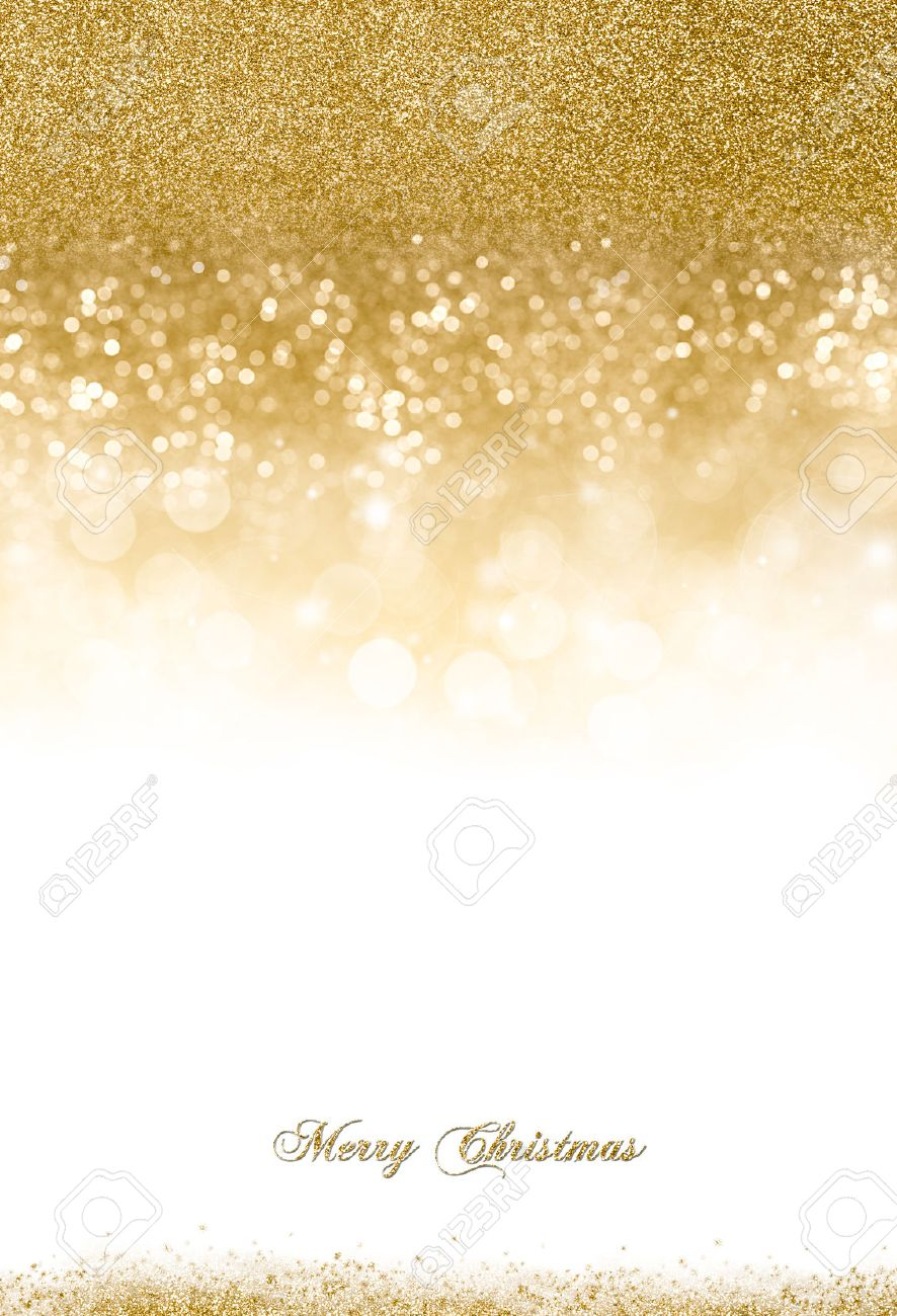 Christmas background with golden glitter scattered on top and slightly at the bottom over white background with copy space for your greeting - 48248798