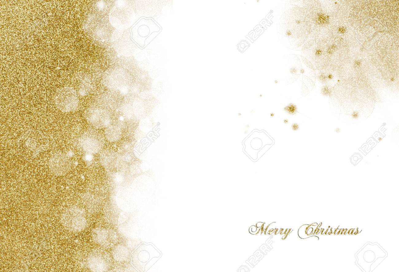 Christmas background with golden glitter scattered as a left hand border and corner decoration over white with copyspace for your greeting - 48248799