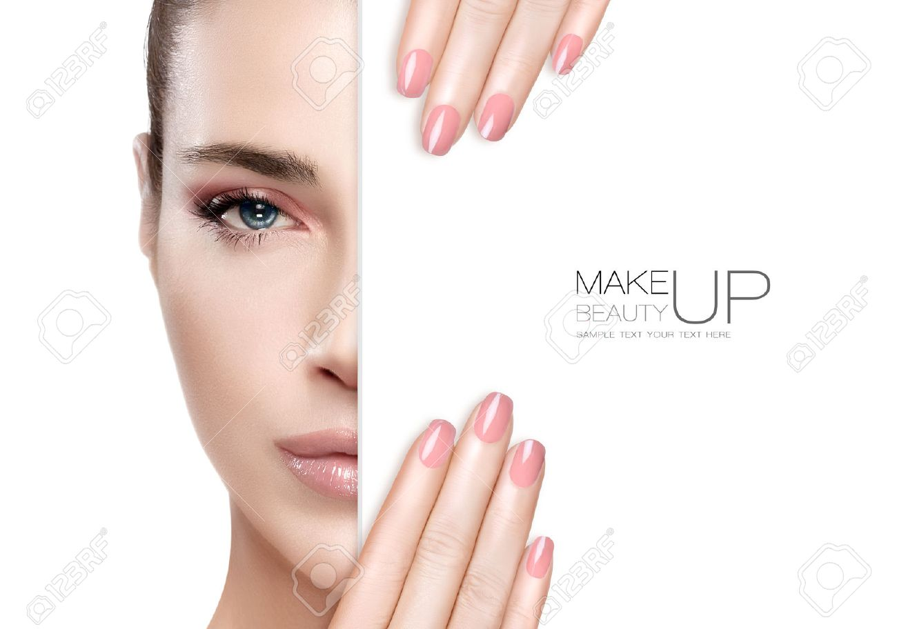 Beauty Makeup and Nai Art Concept. Beautiful fashion model woman with soft pink smoky eye makeup, foundation on a unblemished skin and trendy pink lipstick to match her manicured nails, half face with a white card template. High fashion portrait isolated - 50766496