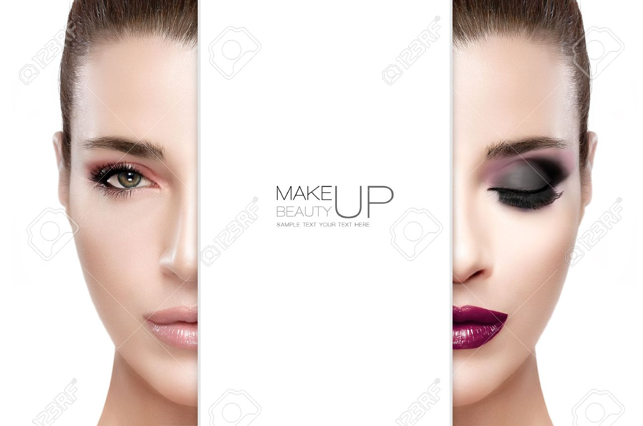 Beauty and Makeup concept with two half faces of a beautiful young woman with professional makeup. Perfect skin. Trendy lips and smoky eyes. Fashionable eyelashes. Two high fashion portraits isolated on white with sample text - 50826628