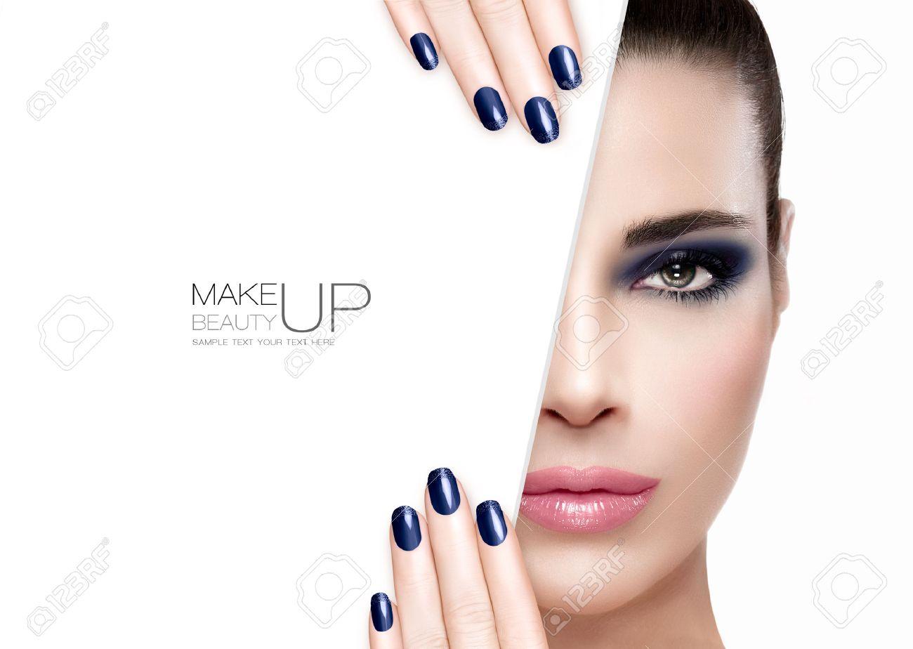 Beauty Makeup And Nai Art Concept. Beautiful Fashion Model Woman ...