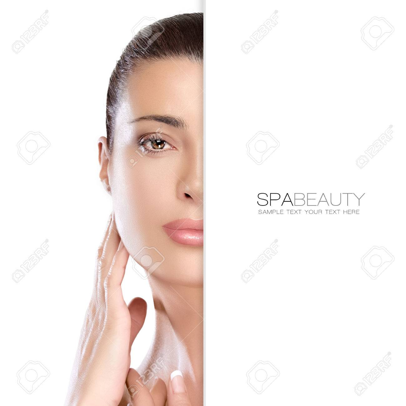 Beauty portrait of a gorgeous natural young woman with perfect healthy skin and a serene expression, suitable for skincare and spa concepts, isolated on white with copyspace alongside. Template design with sample text - 53978397