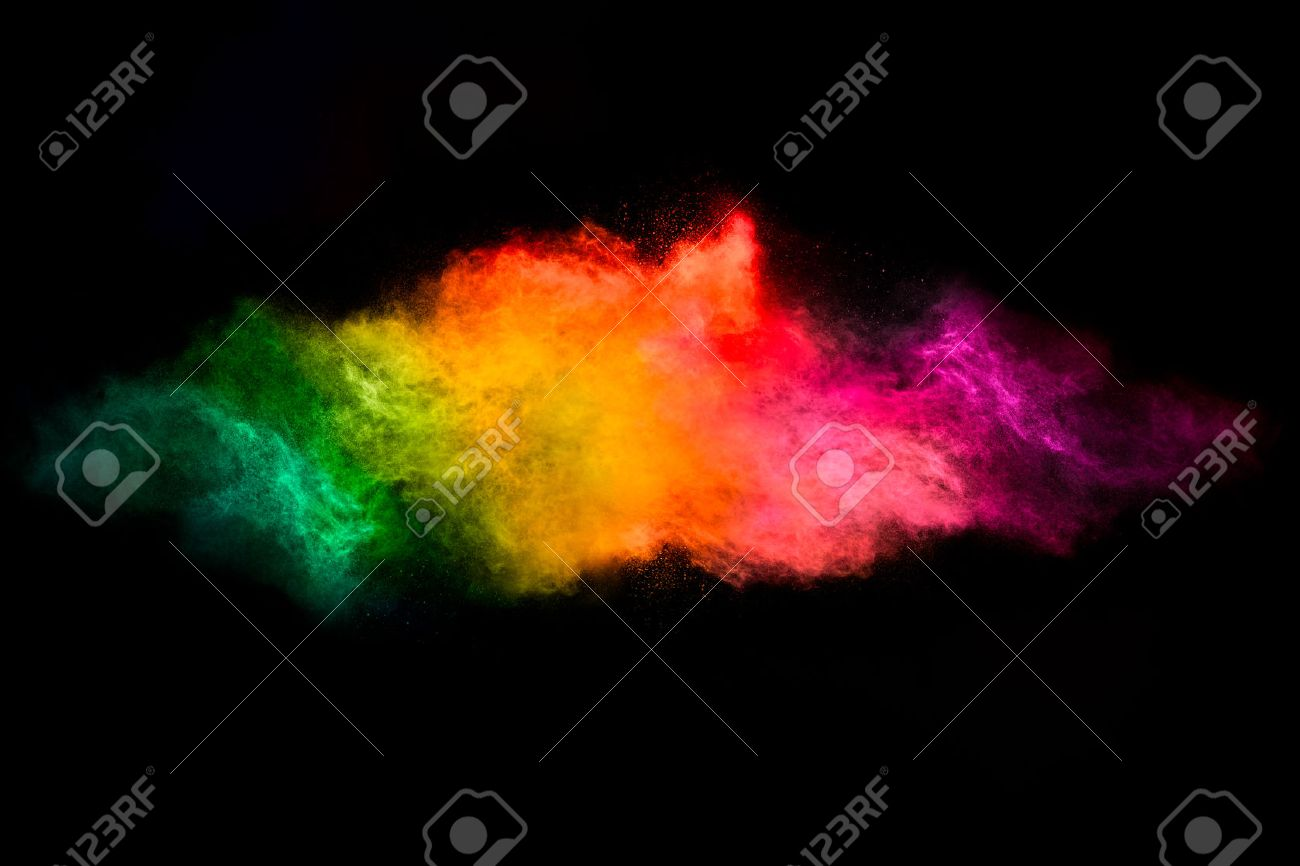 Color explosion. Abstract design of a dust cloud. Colorful rainbow of dust particles isolated on black background - 55314670