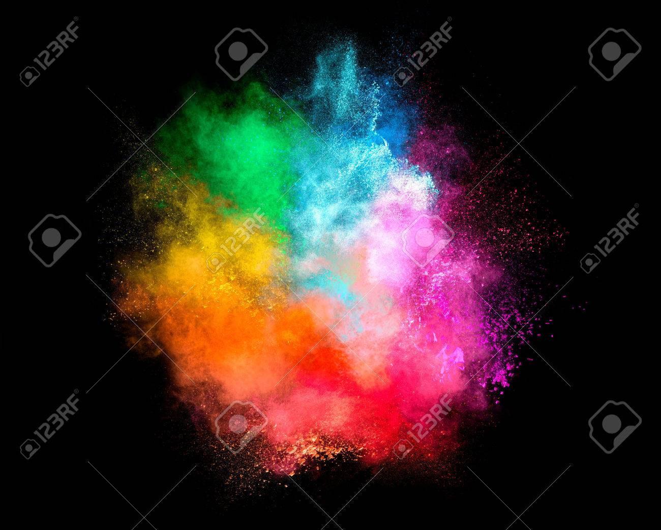 Colorful dust particle explosion resembling a pyrotechnic effect over black background. Closeup of a color explosion isolated on black - 55314678