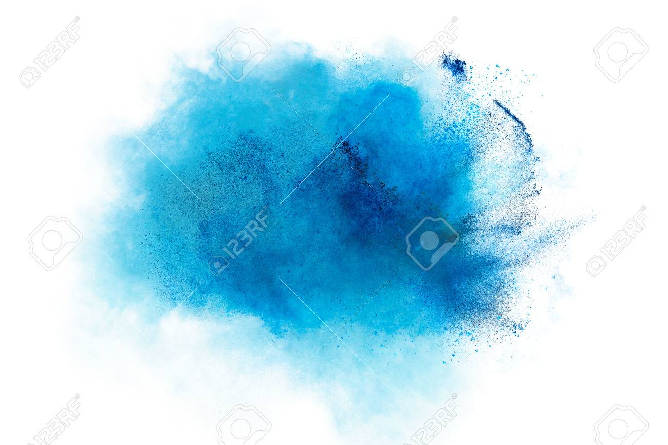 Powder explosion. Closeup of a blue dust particle explosion isolated on white. Abstract background - 57883619
