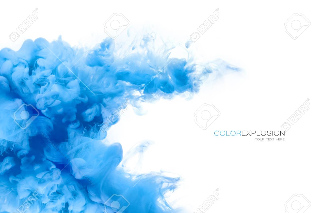 Closeup of a colorful blue acrylic ink in water isolated on white with copy space. Template design. Abstract background. Color explosion. Paint texture. - 60951931