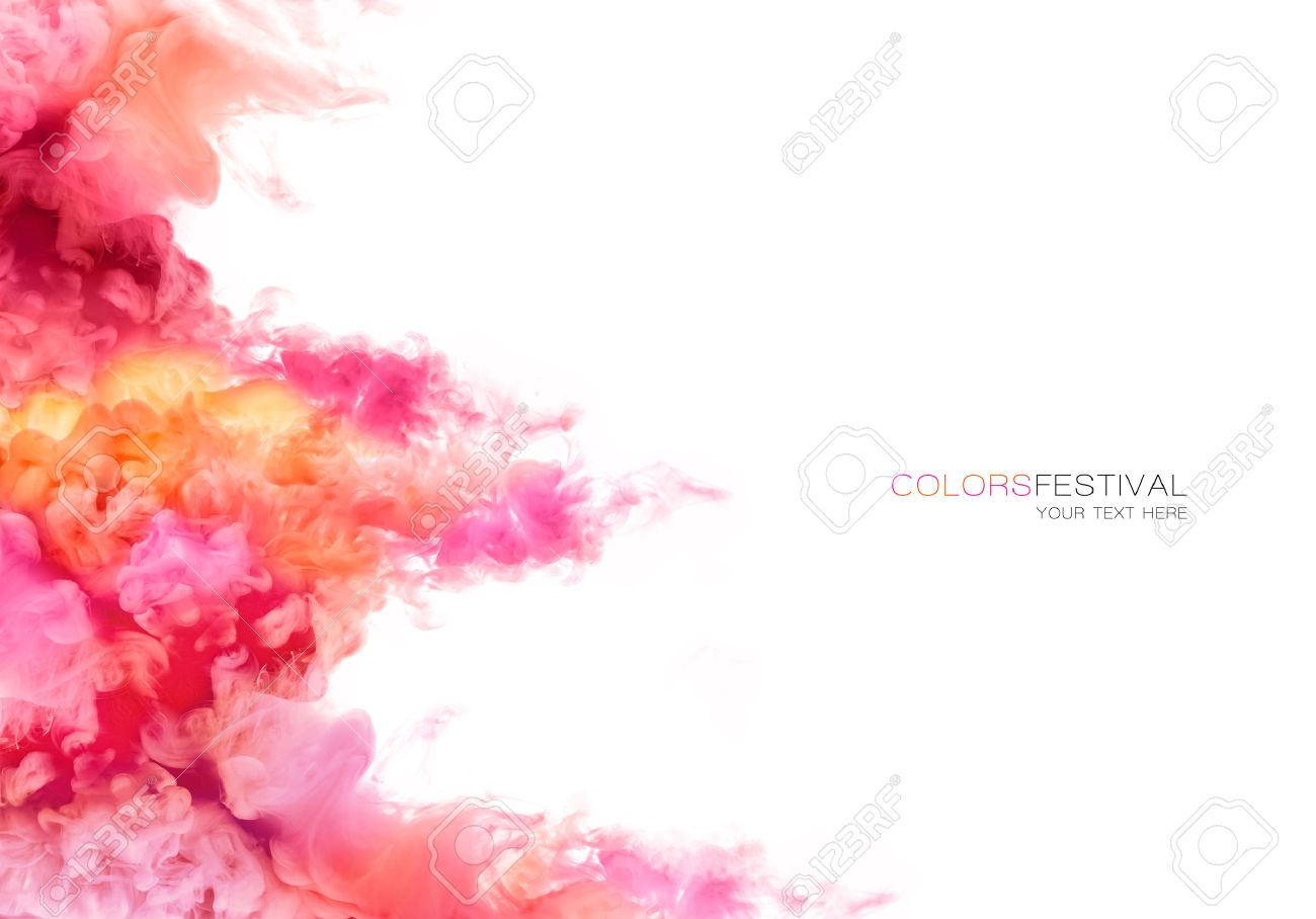 Closeup of colorful ink in water isolated on white background. Paint texture. Color Explosion - 60952016
