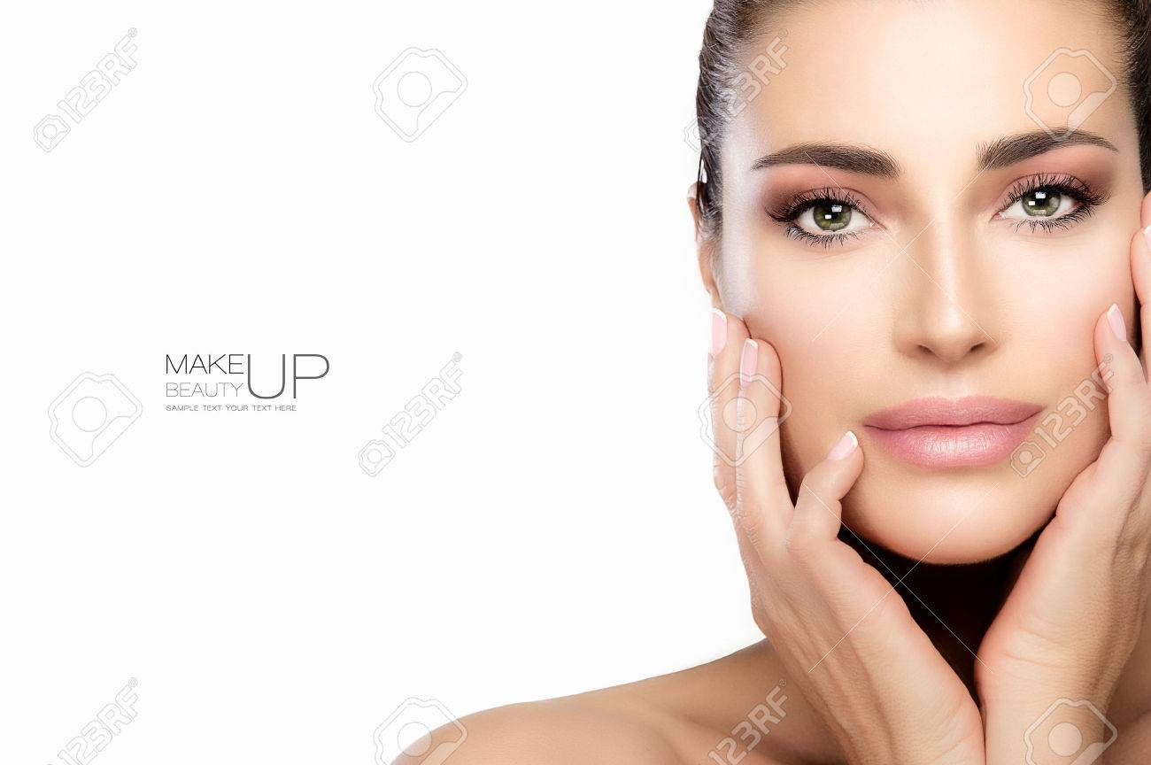 Beauty model woman with trend makeup, soft pink smoky eye, foundation on a unblemished skin and soft pink lipstick to match her manicured nails. Portrait isolated on white with copy space for text - 69454866