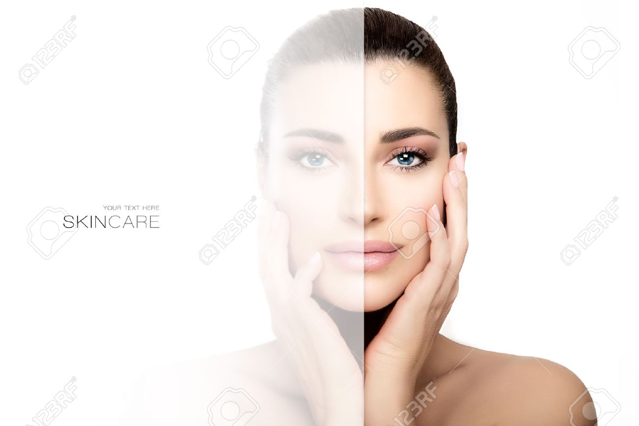 Skin care concept with a faded side on face of beautiful woman with tied back hair, hands on cheeks and shoulders.Beauty portrait isolated on white background - 71229112
