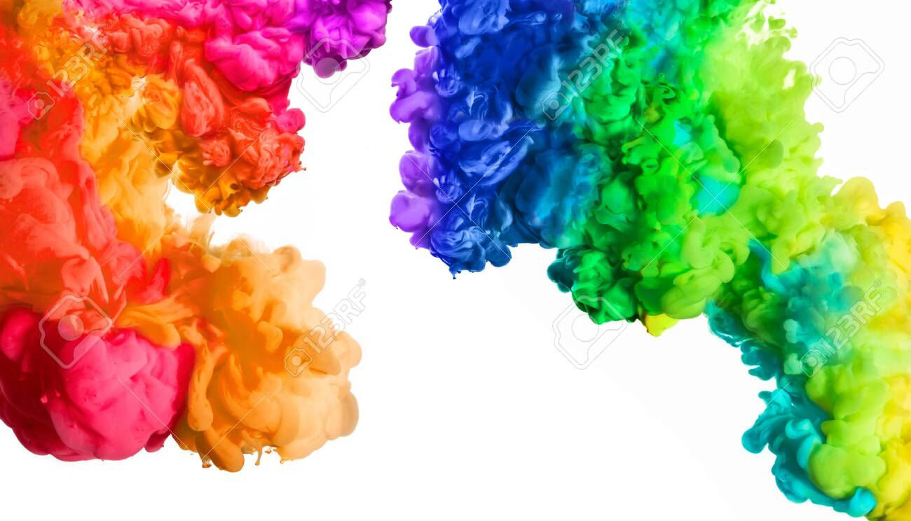 Ink in water isolated on white background. Rainbow of colors. Colors explosion. Colours festival. - 126735373