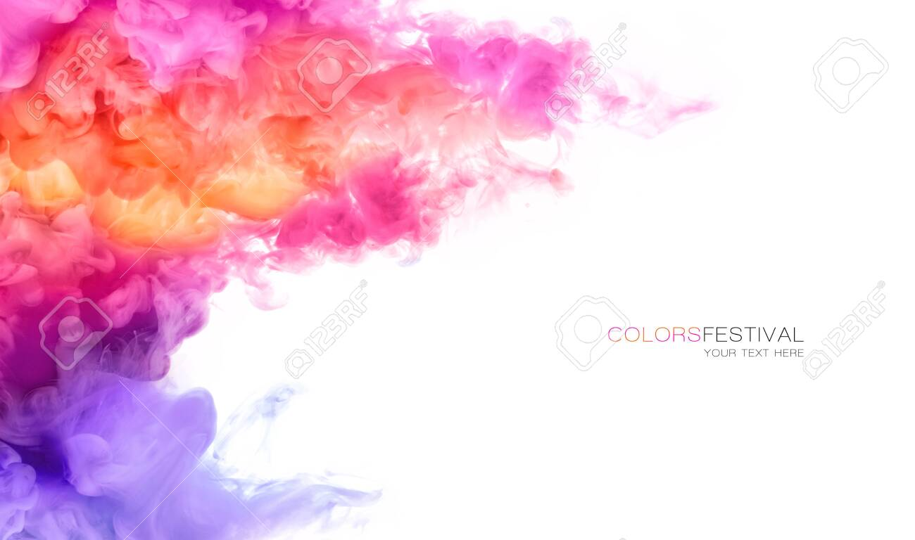 Abstract background banner with colorful pink, purple, orange and yellow shades of colorful ink in water isolated on white background. Festival of colors with sample text. Paint texture. Color Explosion panorama - 144643312