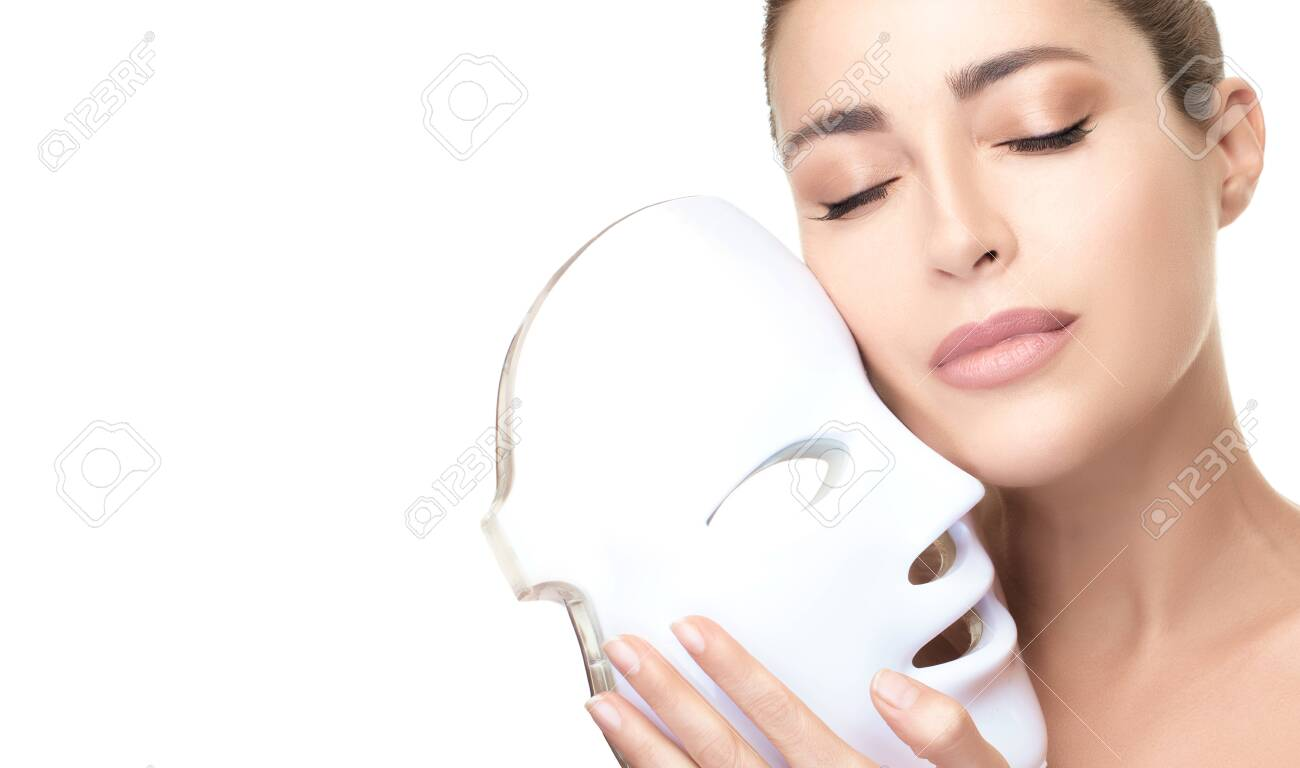 Beauty Face Woman With Led Mask Skin Care Anti Aging Beauty