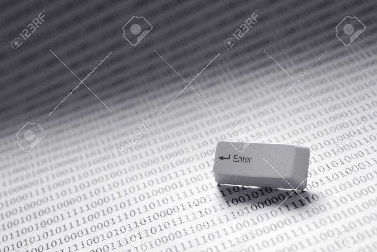 enter key on technology background. black and white Stock Photo - 3376042