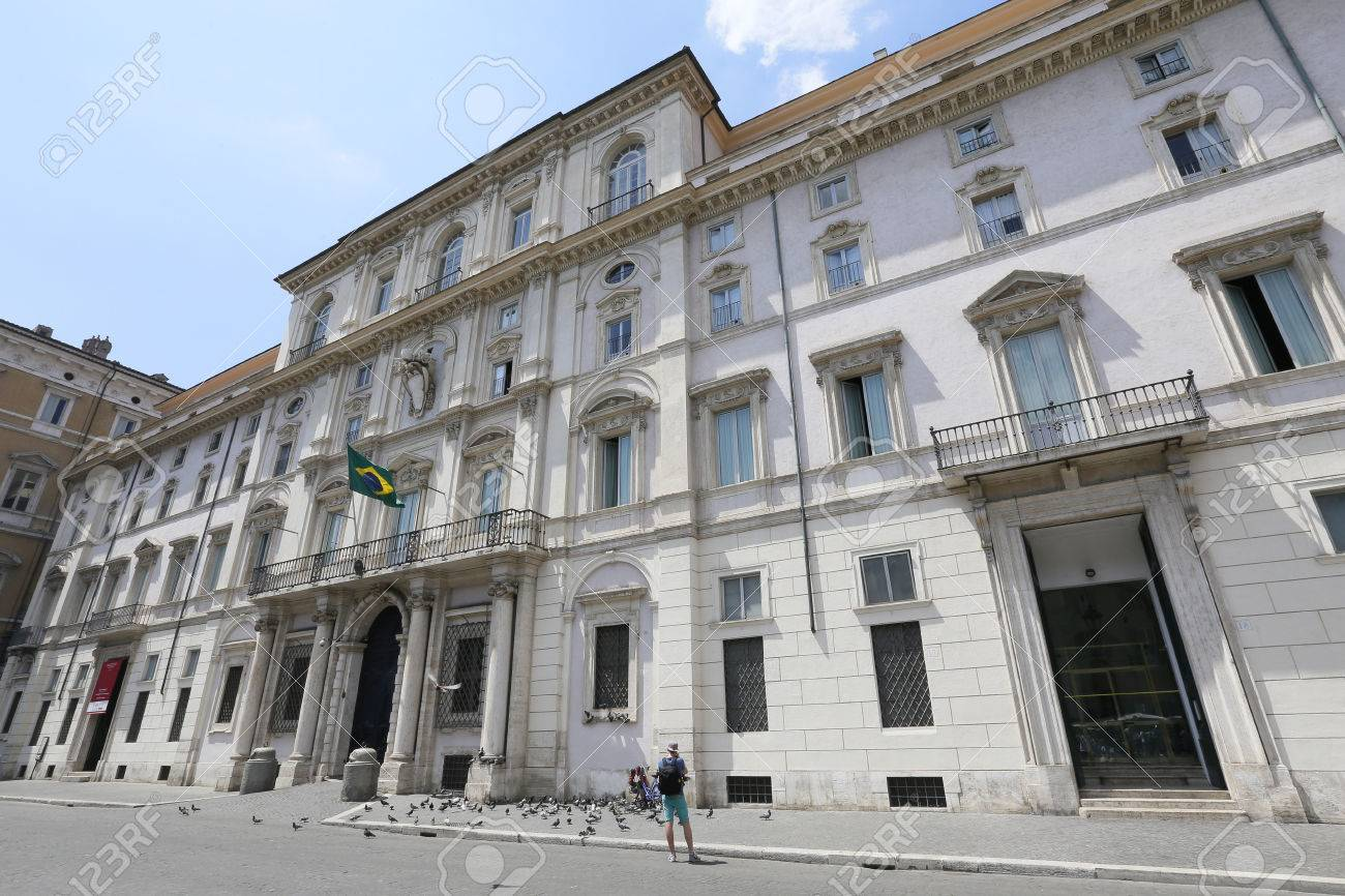 facade of embassy of brazil in piazza navona, rome, italy
