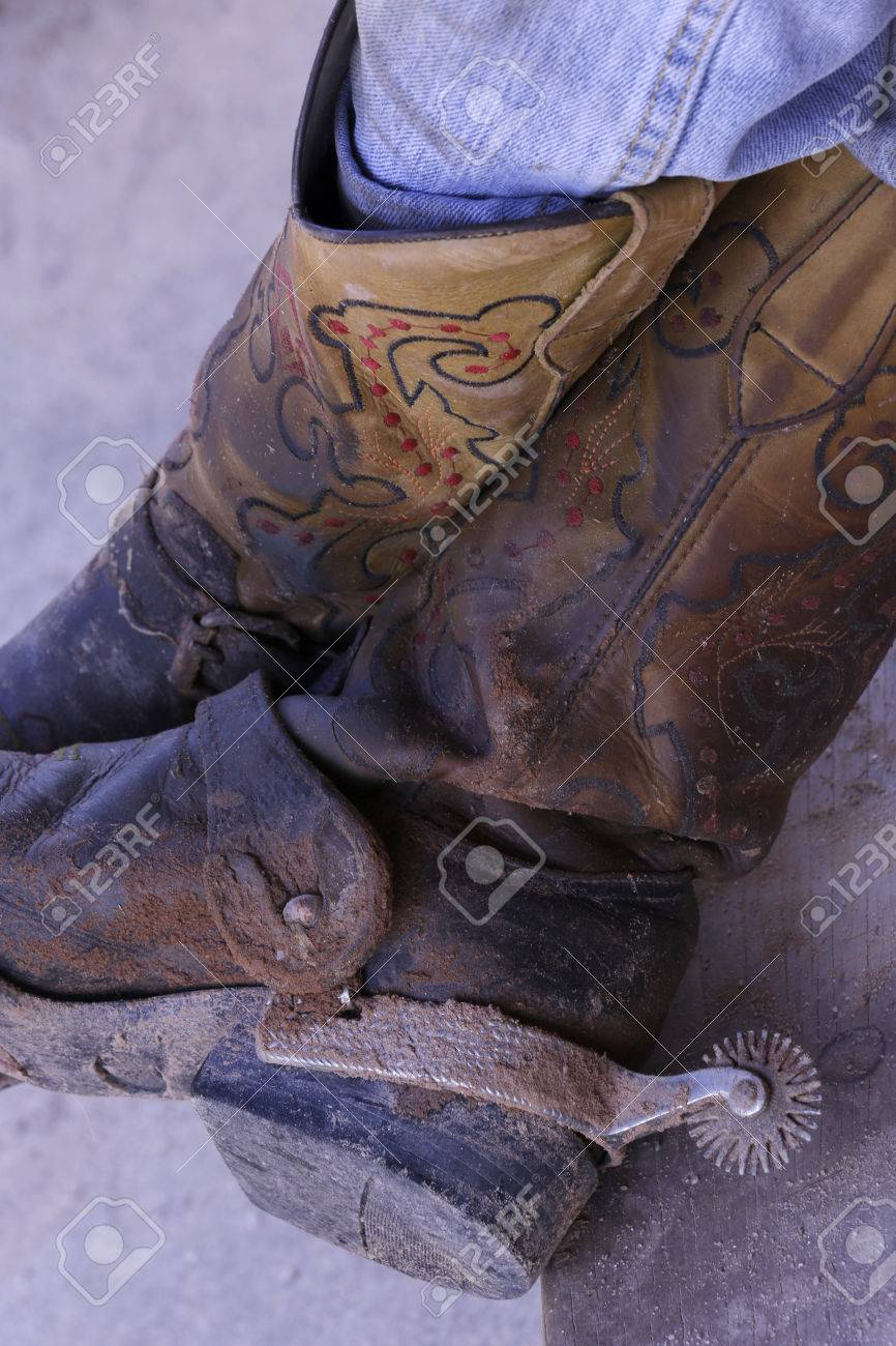cowboy dirty boots with spurs