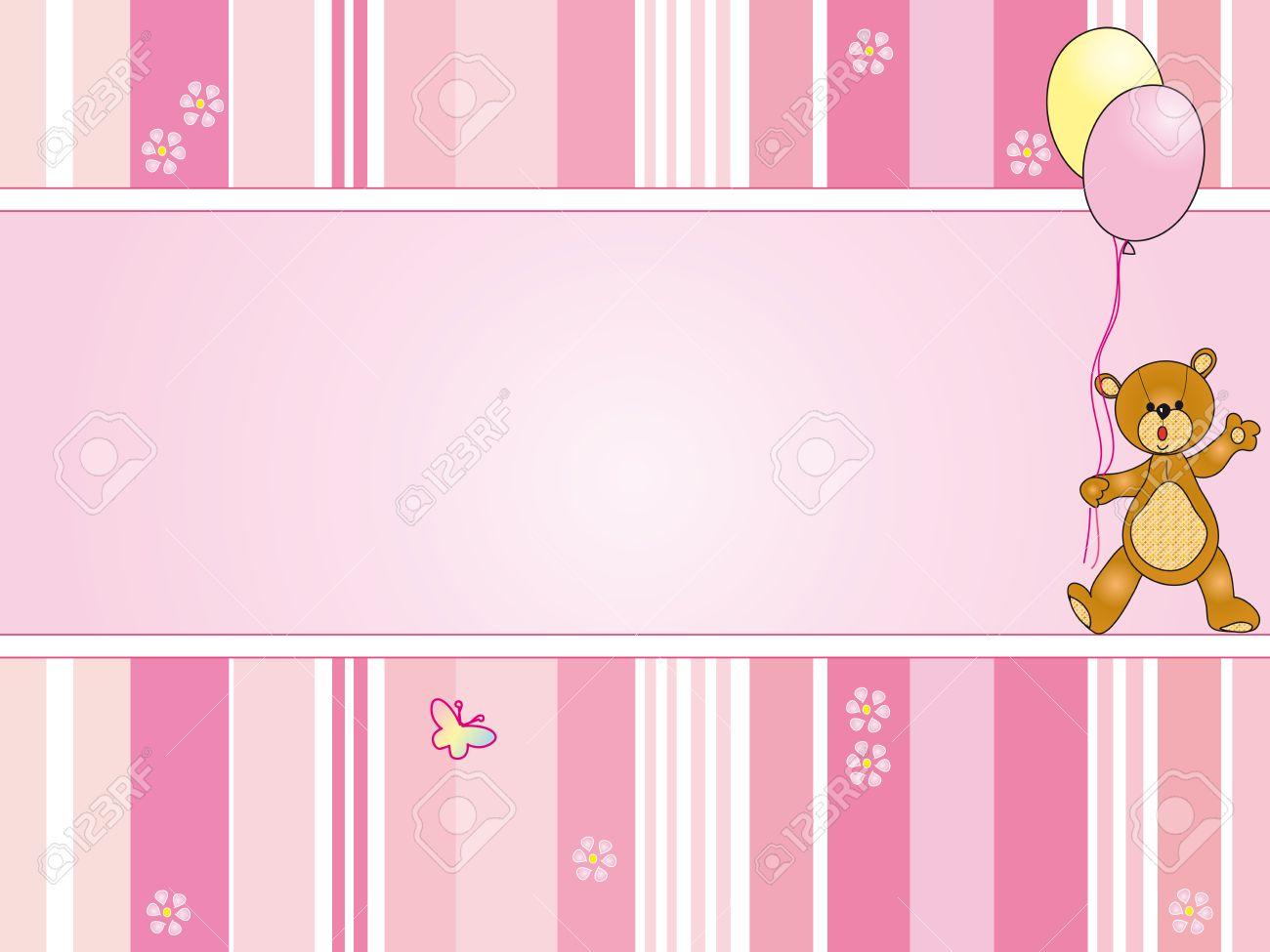 Pink Background Baptismal Plain Best Custom Invitation Template