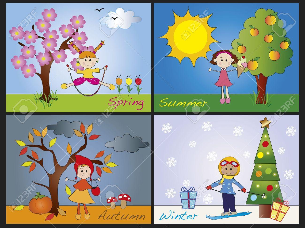 illustration of four seasons with children Stock Illustration - 18023015