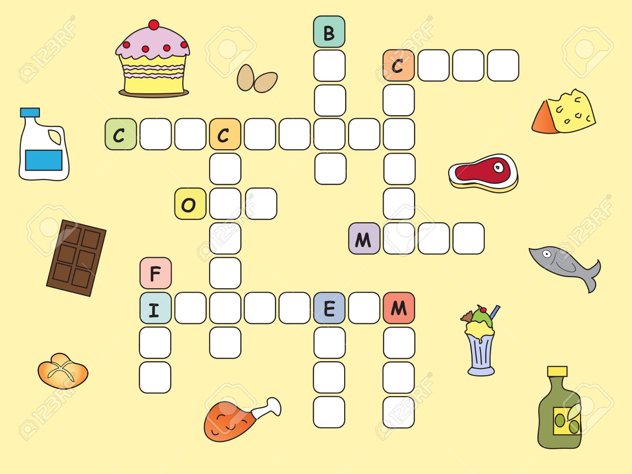 Game For Children Easy Crossword With Food Stock Photo