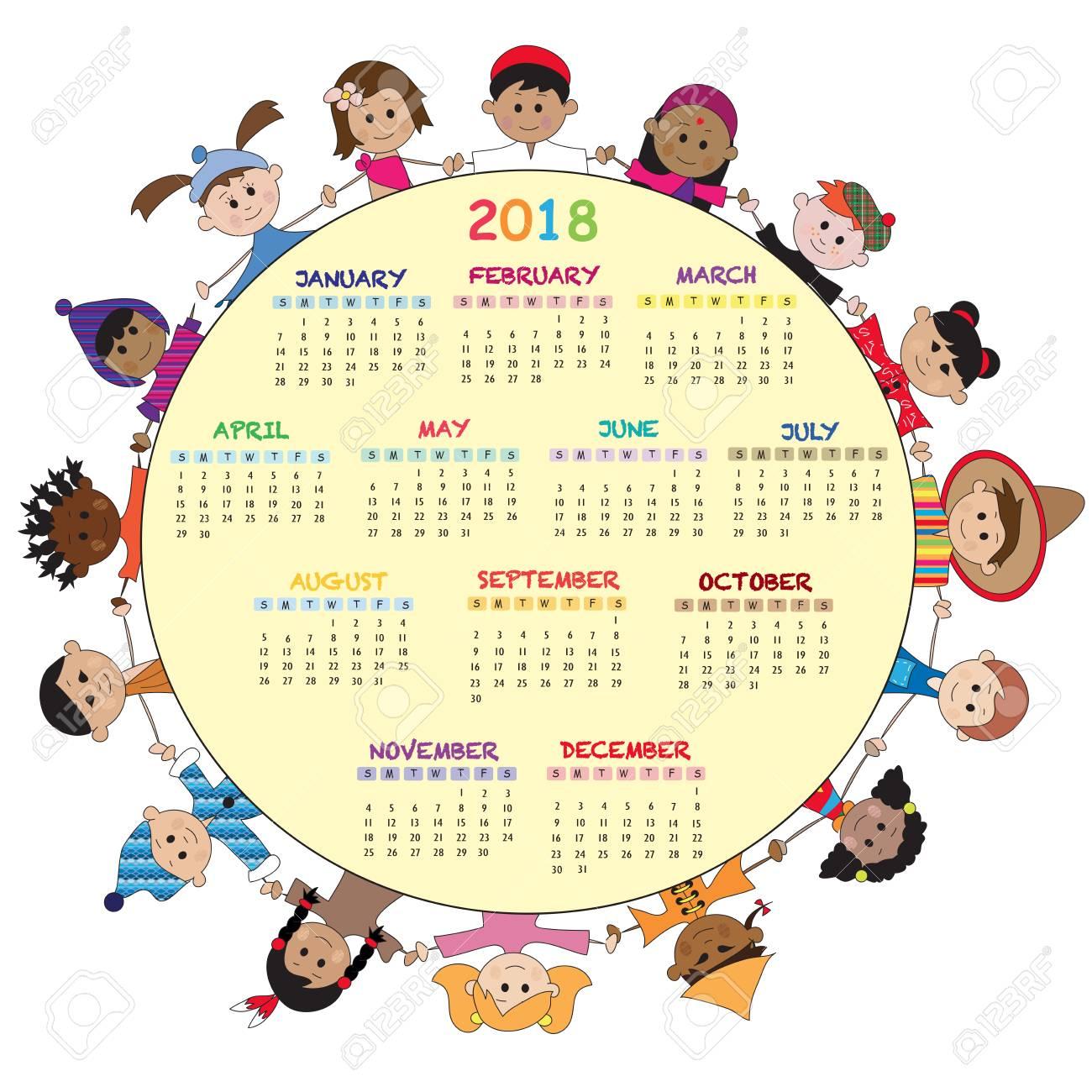 Calendario 2018 Con Los Niños Felices Fotos, Retratos, Imágenes Y ...