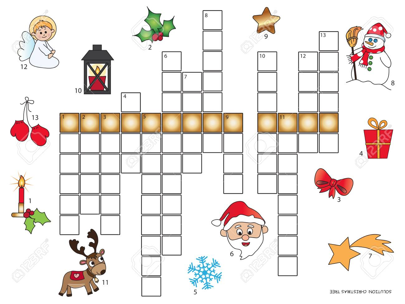 Game For Children Christmas Crossword Stock Photo Picture And