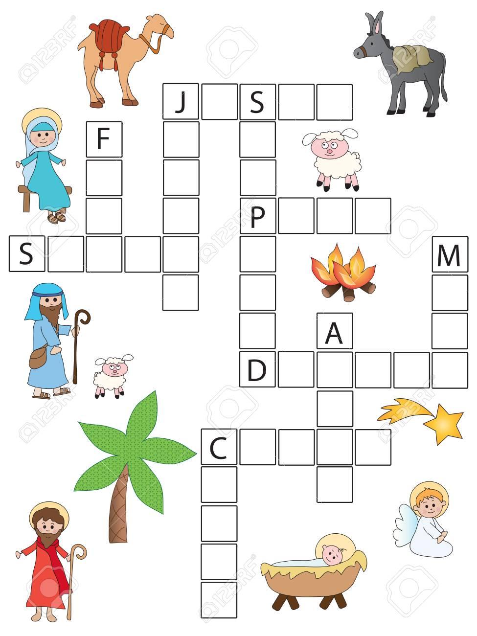 Christmas Crossword.Game For Children Christmas Crossword