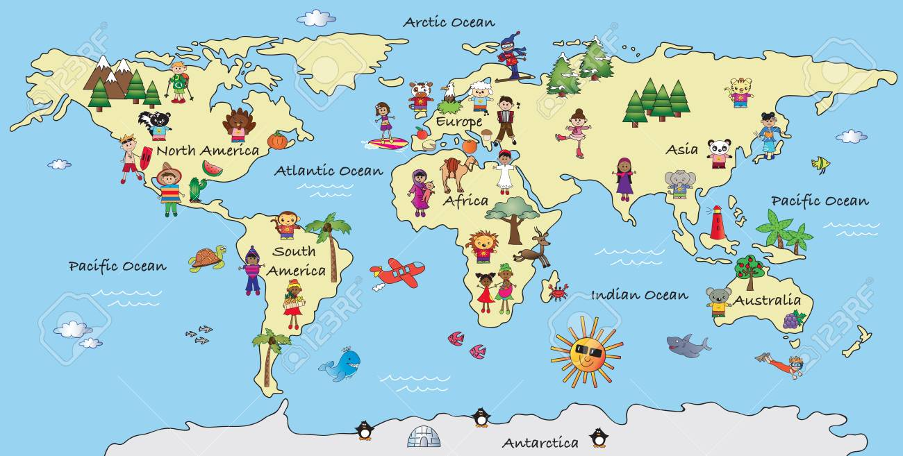 Illustration Of A Fantasy World Map Cartoon Stock Photo Picture