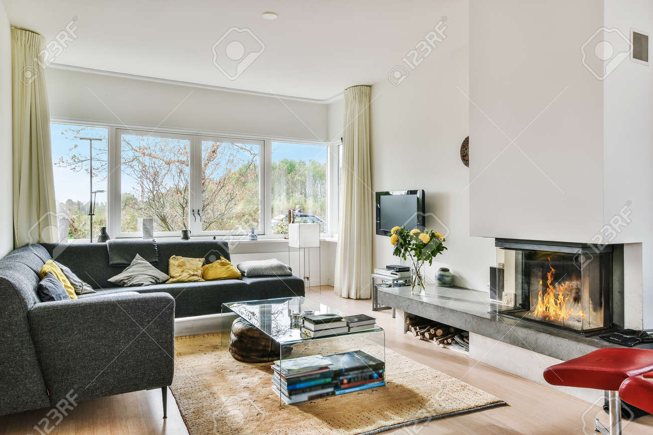Luxury living room of house in beautiful design - 166379464
