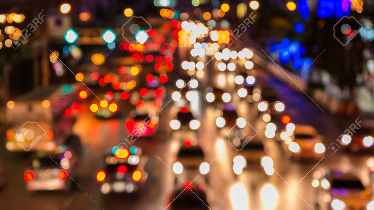 abstact blur bokeh of Evening traffic jam on road in city. - 51718259