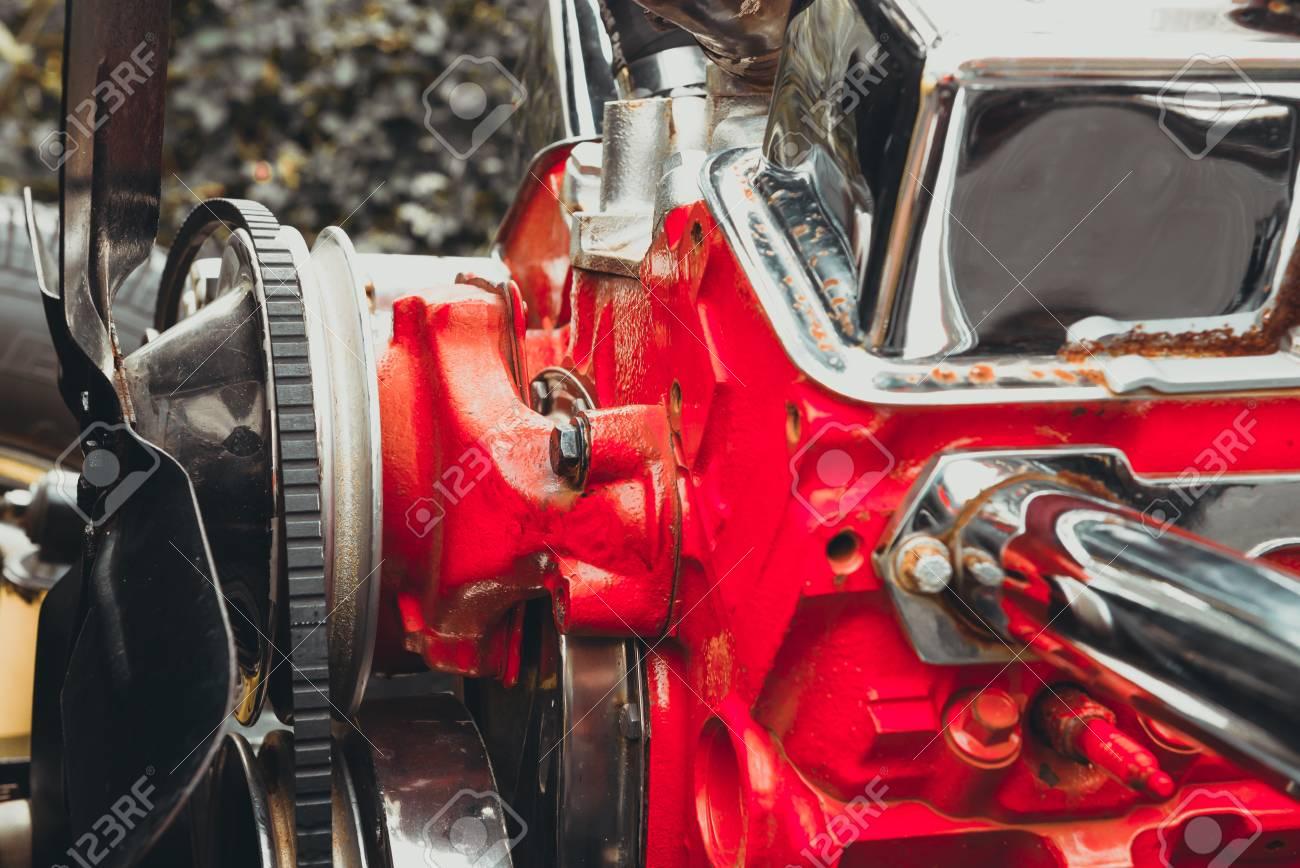 Schließen Engine Of Vintage Klassischen Retro-Auto Detailliert Motor ...